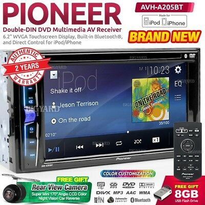 "PIONEER AVH-A205BT 6.2"" Double DIN USB Bluetooth CD Radio Car DVD Stereo Player"