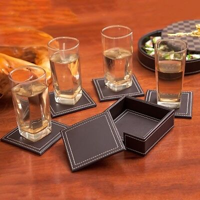 Square PU Leather Coasters Cup Table Mat Pad with Coaster Holder Set of 6 ET6Y