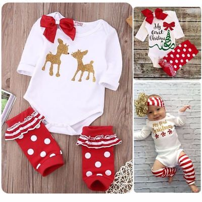 UK Baby Girls My First Christmas Romper Leg Warmer + Headband Outfits Clothes