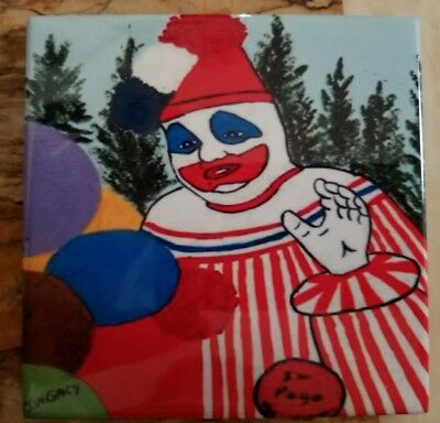 John Wayne Gacy Art Tile Decoration Pot Rest Cup Holder 4.25 x 4.25 Pogo