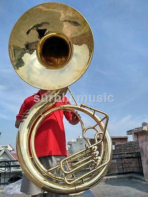 """Sousaphone Big Jumbo Size 25"""" in Gold Lacquer With Free MouthPc & Box & Shipping"""