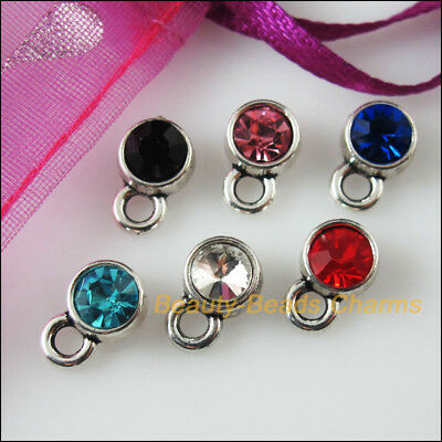 12 New Charms Glass Crystal Mixed Round Tibetan Silver Pendants 7x10.5mm
