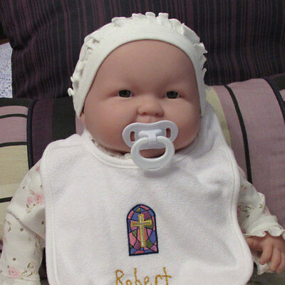 New Gift Baptism Christening Gown Baby Boy Cross Handmade Bib