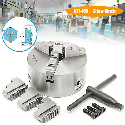 160mm 3 Jaw Lathe Chuck Self-Centering Independent Hardened Steel CNC Milling