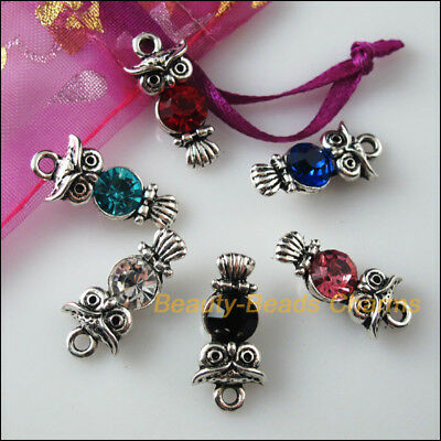 6 New Charms Glass Crystal Mixed Owl Bird Tibetan Silver Pendants 10.5x22mm