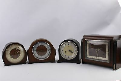 Collection of 4 x Vintage Mantle Clocks Mixed Designs Inc.BAKELITE
