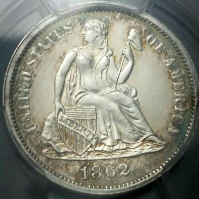 1862 Seated Liberty Dime PCGS MS-62  RARE RPD Fortin 105 Nice Toning PL Surfaces
