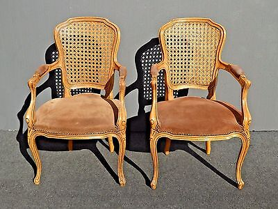 Pair Vintage French Provincial Country Cane Back ACCENT CHAIRS w Brown Suede