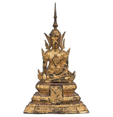 Thailand 19. Jh. - A Thai Bronze Figure Of Crowned Buddha - Rattanakosin Bouddha
