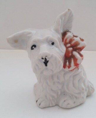 Vintage White Porcelain Westie Bank With Red Bow Japan