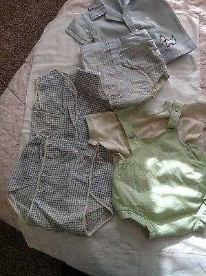 3 Vintage Baby Toddler Shirts w/ Matching Plastic Pants Lot1950's-60's