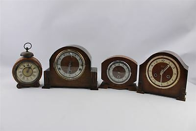Collection of 4 x Vintage Hand-Wind MIXED Mantel Clocks SPARES&REPAIRS