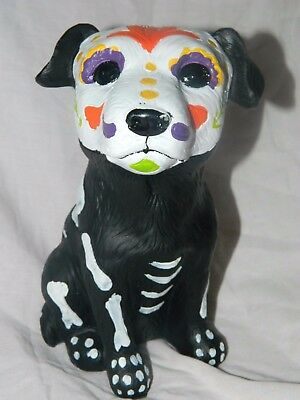 "New 8"" Day of the Dead Black Puppy Dog Resin Statue Figurine black lab halloween"