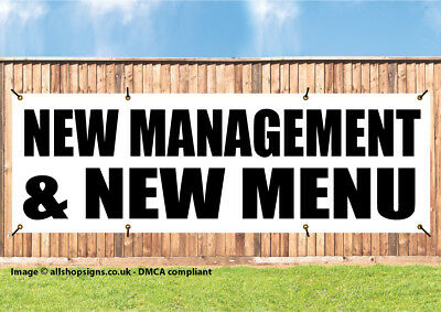 Under new management and new menu banner restaurant SIGN PVC with Eyelets 003