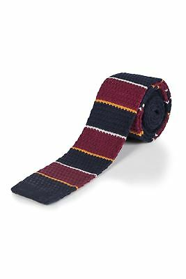 Moustard Striped Cotton Knitted Tie - Coral Snake