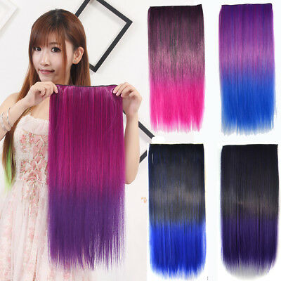 Long Thick Full Head Clip In Synthetic Hair Straight Rainbow Hair Extension Sale