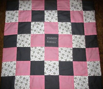 Brand New Handmade Grey ELEPHANTS Baby Quilt  (Embroidered Name Added Free)