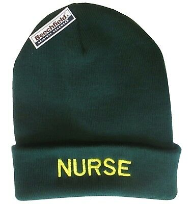 NURSE Green Woolly Beanie Hat EMT St John Medic & First Responder Ambulance RCN