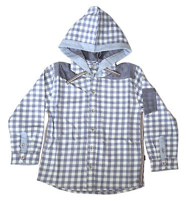 Ollie & Scott Boys Casual Light Blue Check Hooded Button Up Nubi IS Shirt EU 86