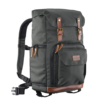 Mantona Luis retro-look camera backpack with genuine leather trim (for 1 DSLR...