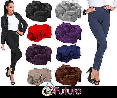 UK Thick Warm Cotton Full Length Winter Fleece Leggings All Colours - Sizes P28