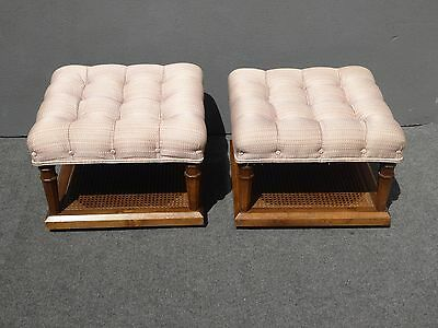 Pair Vtg Mid Century Modern French Country Cane Tufted OTTOMANS Benchs w Castors