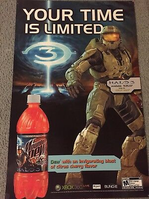 RARE Halo 3 Your Time Is Limited/ Mountain Dew Game Fuel Display Poster/Sturdy