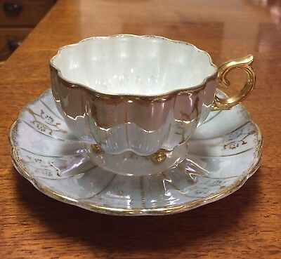 Green & Gilded Gold Iridescent Royal Sealy? China Tea Cup &Saucer Footed,Elegant