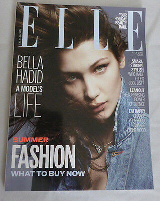 ELLE UK July 2016 Handbag Size Magazine July 2016 Bella Hadid A Model's Life New
