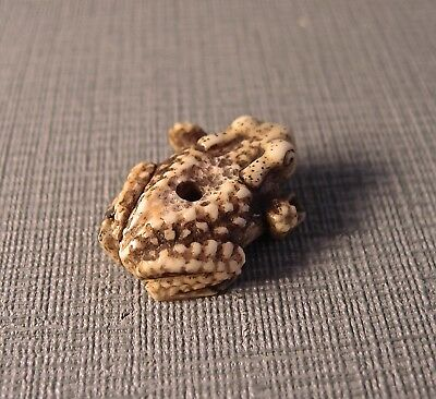 19th Century Stag Antler Ojime Bead of a Toad .Inro ,Netsuke.