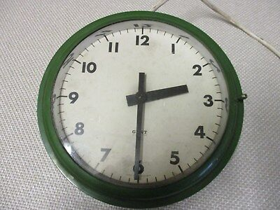 GENT OF LEICESTER, VINTAGE 1930s  INDUSTRIAL ELECTRIC BRASS WALL CLOCK.