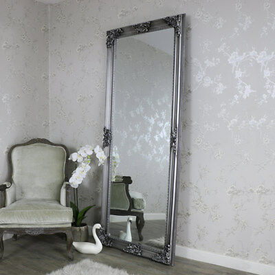 Extra large ornate antique silver wall floor mirror full length vintage chic