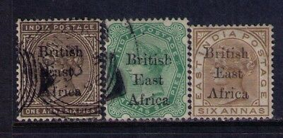 British East Africa 1895 QV Ovpt on India stamps SC# 56;58;71 MH/Used,CV:$58.00