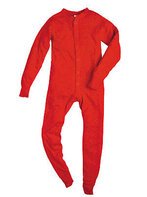 Indera Mills Youth Rib Knit Red 100% Cotton Thermal Long Johns Unionsuit