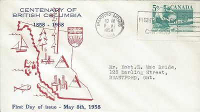 1958 #377 British Columbia Centennial FDC with unusual cachet