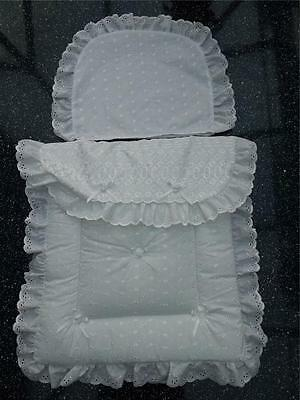 Dolls Pram Quilt set in White Broderie anglaise to fit silver cross prams