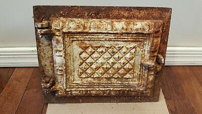 Antique Cast Iron Metal Rusty Furnace Stove Oven Door Emblem Ornate Steampunk