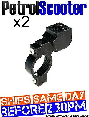2 Wing Side Mirror Clamp Bracket Black 22mm Pit ATV Bike Scooter Motor Cycle