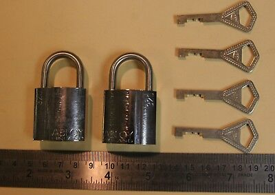 Abloy 320 mini padlocks - qty. 2 with 4 keys - all keyed the same - NEW