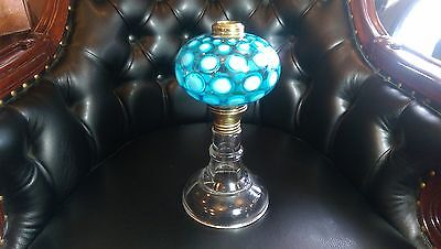 Rare Antique Blue & White Opalescent Coin Dot Table Oil Lamp  High End Scarce