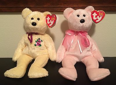 Ty Beanie Babies 2002-2004 MOTHER & MOM-e Yellow & Pink Bears