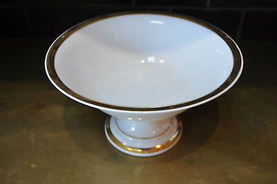 Antique Old Paris Porcelain footed large bowl  white and real gold  #0