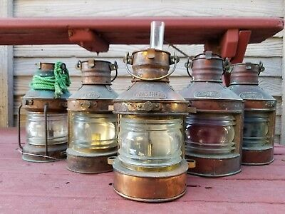 Antique Nautical Port & Starboard Copper Oil Lamp Lanterns By Tung Woo Hong Kong