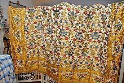 """Vintage Woven  Ethnic Persian Floral Fringe bed cover, 98""""X 77"""""""