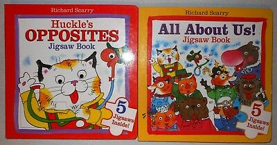 Lot of 2 Richard Scarry Opposites - All About Us Jigsaw Books 10 Puzzles NEW