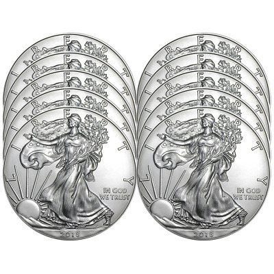 Lot of 10 - 2018 $1 American Silver Eagle 1 oz Brilliant Uncirculated