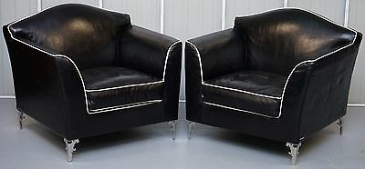 Pair Of Rrp £18,000 Cavalli Nella Vertrina Avalon Leather Contemporary Armchairs