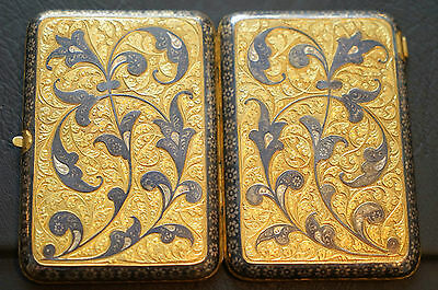Stunning Solid Silver And Fully Gold Gilt Russian Nielloware Cigarette Case
