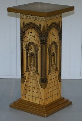 Ornately Decorated Carved Wood Hand Painted Jardiniere Stand Pillar Pedestal