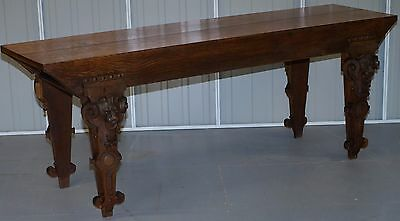 Rare Large Flemish Dutch Circa 1840 Solid Oak Lion Carved Hunt Serving Table